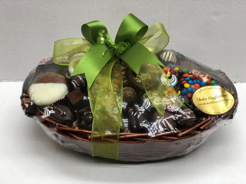 Assorted chocolate and pretzels in basket.