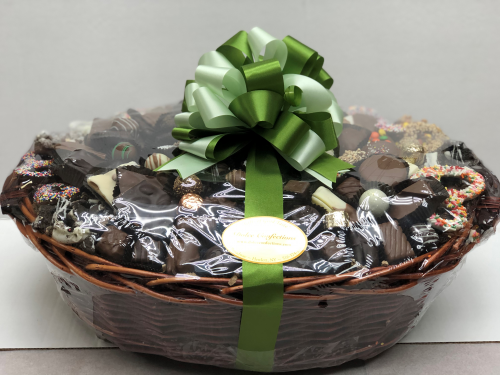 Assorted chocolate and pretzels in a basket