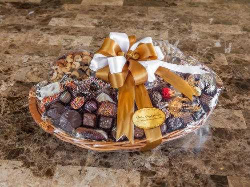Assorted chocolates and nuts basket.