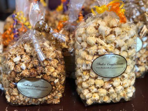 Gourmet popcorn in bags.
