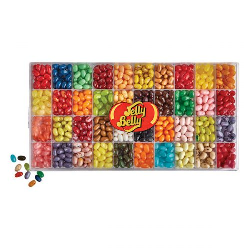 Assorted Jelly Belly jelly beans in a plastic box.