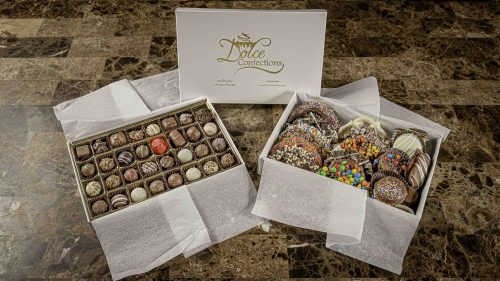 Assorted chocolate truffle box and assorted chocolate covered pretzels and cookies.