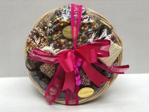 Assorted chocolate and pretzels basket.
