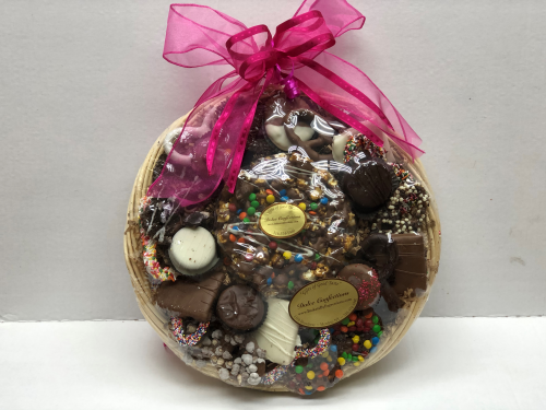Assorted chocolate and pretzels basket