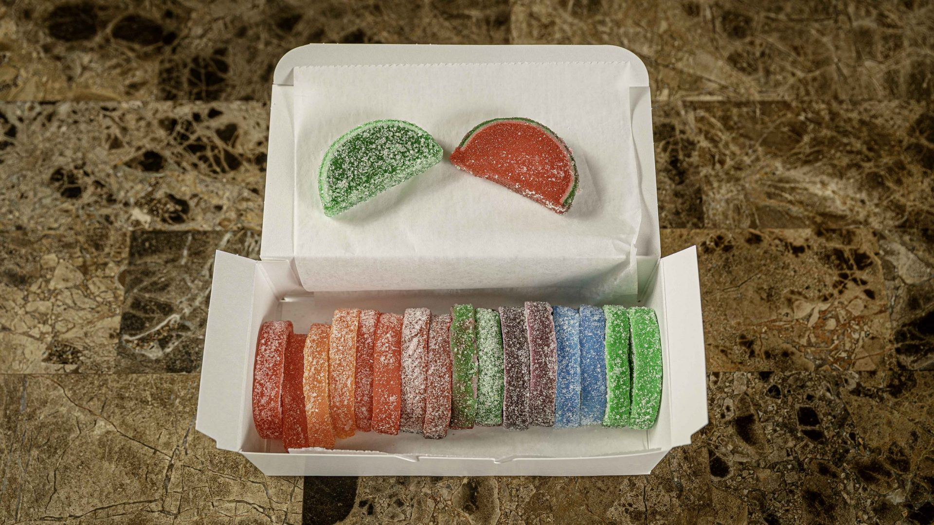assorted fruit jelly slices.