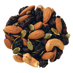 Closeup of mixed fruit and nuts.