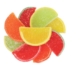 Fruit Jelly Slices arranged in a circle.