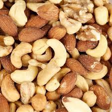 Closeup of mixed nuts.