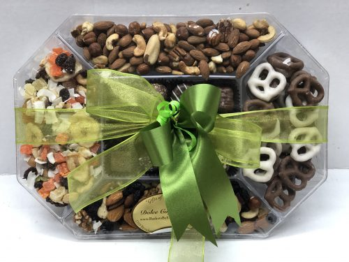 assorted chocolate pretzels, nuts, and dried fruits.
