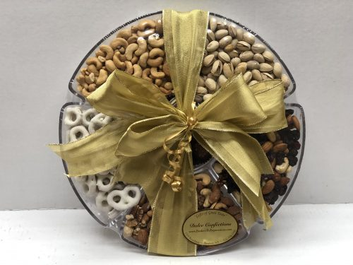 Chocolate covered pretzels, nuts, and dried fruits.