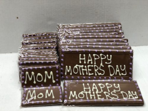 Mothers day chocolate bars in two sizes.