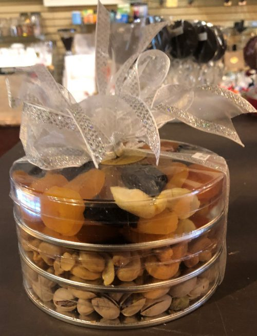 Dried Fruit and nuts in a container.