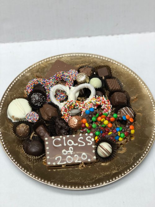 Custom class of 2020 chocolate and chocolate covered pretzel platter.