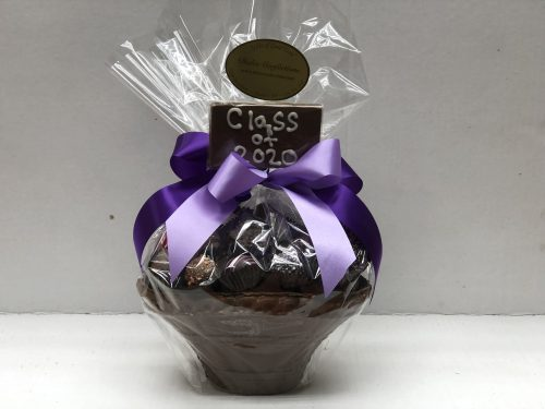 "edible chocolate basket filled with assorted chocolates and custom chocolate bar with ""Class of 2020"" written on it."