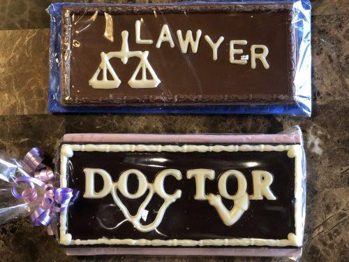 Custom lawyer and doctor chocolate bars.
