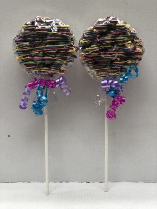 Two chocolate pops.