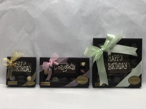 Custom chocolate message boxes.