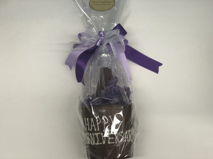 Happy Anniversary chocolate champagne bucket & champagne bottle.