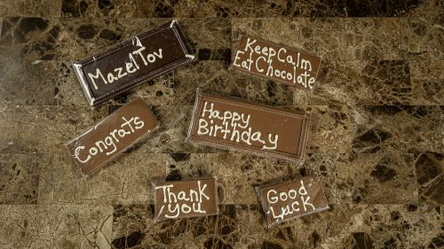 Custom message chocolate bars.